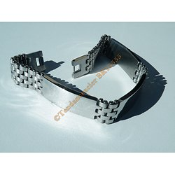 Gourmette Triple Bracelet 21 cm Pur Acier Inoxydable Argenté 13 mm