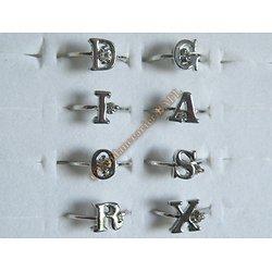 Bague Alphabet Prénom Amour Femme Lettre Argent Strass Zircon Rhinestone Diam