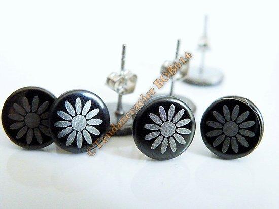 Boucles d'Oreilles Clou Acier Inoxydable Fleur Soleil Ra Noir Blanc