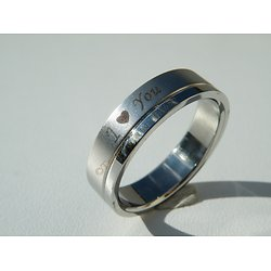 Bague Alliance Acier Inoxydable I Love You Coeur
