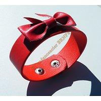 Bracelet Ceinture Simili Cuir Rouge Noeud Papillon Ceinture Mode Fashion Stylé Ajustable