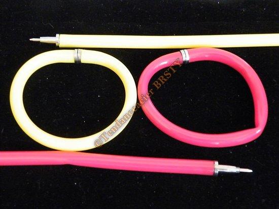 Lot 2 Bracelets Stylo Flexible Rouge et ou Jaune Fun Magique Pense Bete