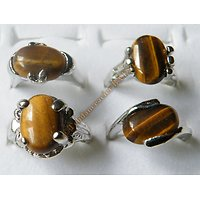 Bague Alliance Sertie Véritable Tiger Eye Oeil de Tigre