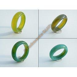 Bague Alliance Agate Verte Bombée Lithothérapie Minérale 5 à 6 mm