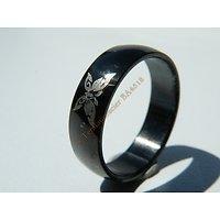 Bague Pur Acier Inoxydable Noire Black Plated Papillon Brillant
