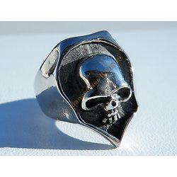Bague Skull Acier Inoxydable Chevaliere Blason Tete de Mort 3 Dimensions Argenté