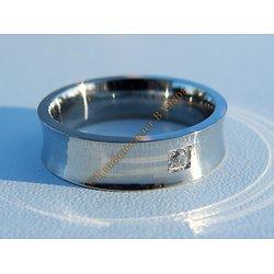 Bague Acier Inoxydable Incurvé 1 Cubic Zirconium Strass 6 mm Amour Love