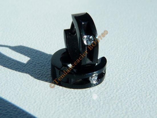 Boucles d'Oreilles Créoles 10 mm Pur Acier Inoxydable Noir 1 Strass Diamant Cz Zc