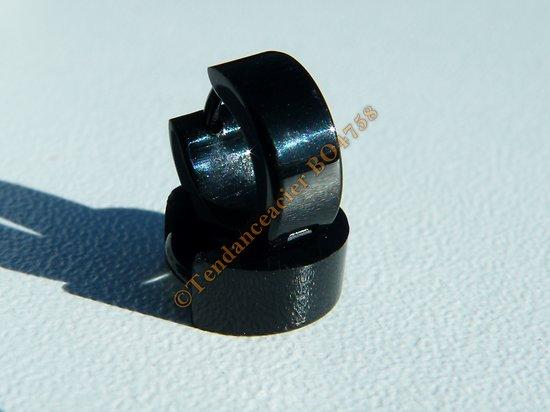 Boucles d'Oreilles Créoles 10 mm Pur Acier Inoxydable Noir Brillante Vierge Tribal