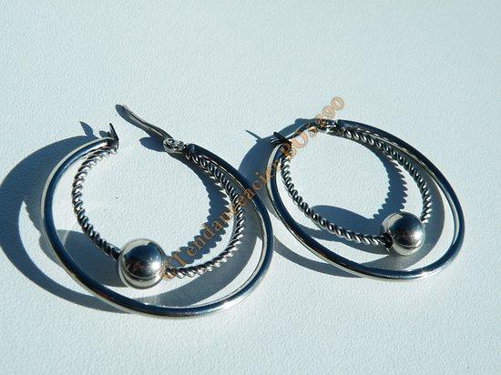 Boucles d'Oreilles 40 mm Pur Acier Inoxydable Argenté Duo de Créoles Boule 8 mm