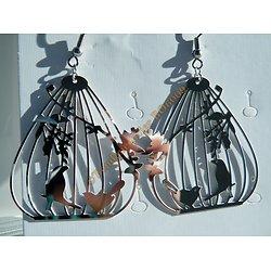 Boucles d'Oreilles BO Pendantes Acier Inoxydable Cage Aux Oiseaux Argenté 66 mm