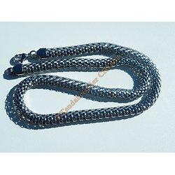 Collier Sautoir 54 cm Acier Inoxydable Maille Serpent Royale 3 Dimensions Argenté 8 mm