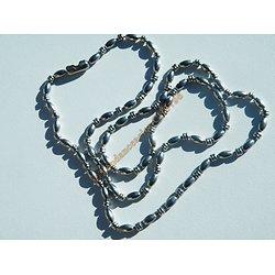 Chaine Longue 61 cm Argenté Pur Acier Inoxydable Boule Strié Haricot 3 mm