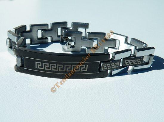 Gourmette Bracelet Pur Acier Inoxydable Motif Grec Tribal Celte Noir Argent 21 cm