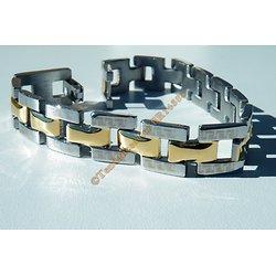 Bracelet Gourmette Acier Inoxydable 3 Rang Duo Plaqué Or Argenté Motif Tribal Celte 21 cm
