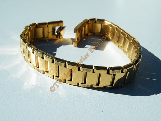 Bracelet Gourmette 12 mm Pur Acier Inoxydable Doré Plaqué Or 20 cm