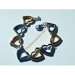Bracelet Love Féminin 8 Coeurs Pur Acier Inoxydable Plaqué Or et Argenté Ajustable