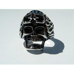 Bague Acier Inoxydable Tete de Mort Crane Biker Hard Rock Skull Emo