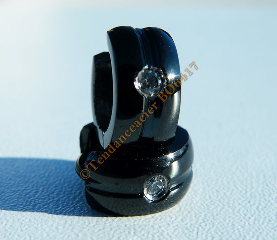 Boucles d'Oreilles Créoles 7 mm Acier Inoxydable Noir 1Bande 1 Zc Cz Strass