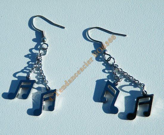 Boucles d'Oreilles Pendantes Acier Inoxydable Argenté Double Croche Portée Musique Solfège 52 mm