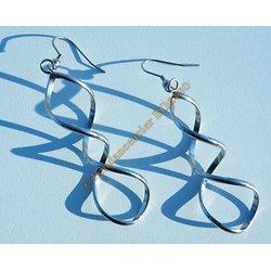 Boucles d'Oreilles Pendantes Acier Inoxydable Hélice ADN Torsadé 80 mm