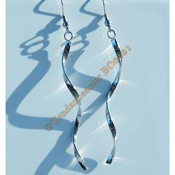 Boucles d'Oreilles Pendantes Acier Inoxydable Torsadé ADN 90 mm Argenté