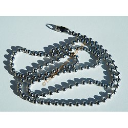 Collier Dog Tag Chaine Extra Long 67 cm Acier Inoxydable Boules 4 mm