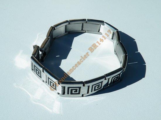 Bracelet Gourmette Argenté Pur Acier Inoxydable Motif Celte Tribal Noir 12 mm
