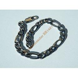 Bracelet Maille Figaro 1 + 3 Pur Acier Inoxydable 7 mm Argenté Ajustable