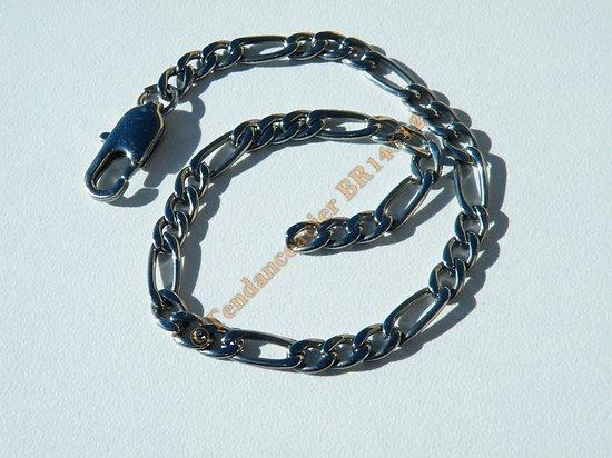 Bracelet Maille Figaro 1 + 3 Pur Acier Inoxydable 4 mm Argenté Ajustable