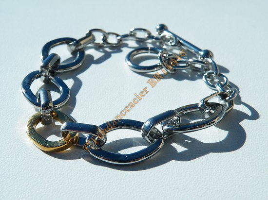 Bracelet Femme Pur Acier Inoxydable 5 Ovales Duo Argenté Plaqué Or 19 cm