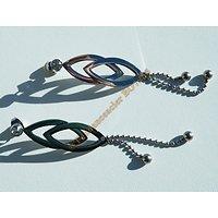 Boucles d'Oreilles Acier Inoxydable Pendantes Clou Losange Rond Boule 3 Zirconia Strass 73 mm