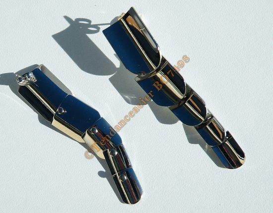 Boucles d'Oreilles Pendantes Acier Inoxydable Clou 5 Blasons Armure Argenté Vintage 66 mm