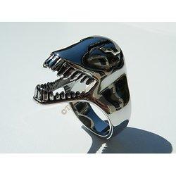 Bague Chevalière Acier Inoxydable Argenté Tete Dinosaure Skull Tyrannosaure