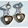 Boucles d'Oreilles Pendantes Coeur Love Amour Acier Inoxydable Plaqué Or 2 Strass Zirconia