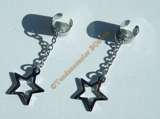 Boucles Oreilles Non Percée Clip Pur Acier Inoxydable Pendantes Etoiles Chaine Star 41 mm