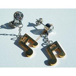 Boucles d'Oreilles Pendantes Acier Inoxydable Note De Musique Plaqué Or Zirconia Strass 7 mm