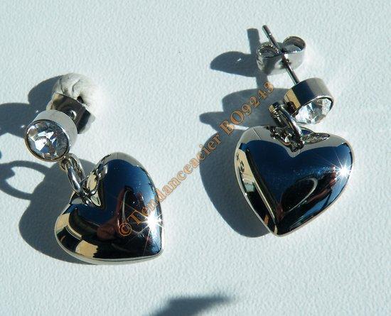 Boucles d'Oreilles Pendantes Acier Inoxydable Coeur Love 3D Zirconia Strass 7 mm Argenté
