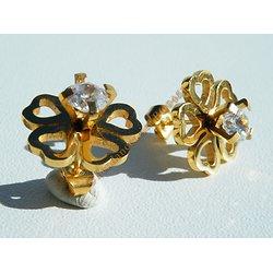 Boucles d'Oreilles Clous Acier Inoxydable Fleur 5 Pétales Coeur Plaqué Or 5 Zirconia Strass