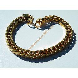 Bracelet 23 cm Pur Acier Inoxydable Doré Plaqué Or Maille Gourmette 8 mm