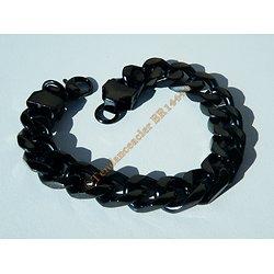 Bracelet 22 cm Pur Acier Inoxydable Plaqué Noir Carbone Maille Gourmette 11 mm