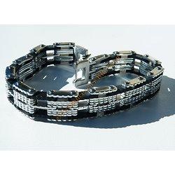 Bracelet 21 cm Gourmette 11 Rangs Argenté Silicone Caoutchouc Noir Acier Inoxydable Large 13 mm