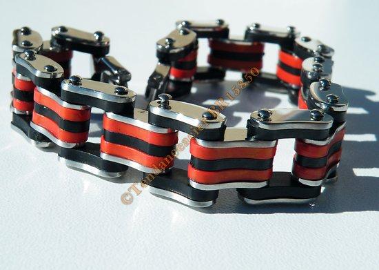 Bracelet 21 cm Gourmette 9 Rangs Argenté Silicone Caoutchouc Noir Rouge Acier Inoxydable Large 13 mm