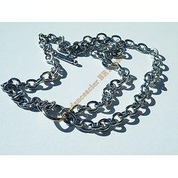 Bracelet Toogle 20 cm Trio de Chaines Maille Ovale Jaseron Argenté Pur Acier Inoxydable 18 mm