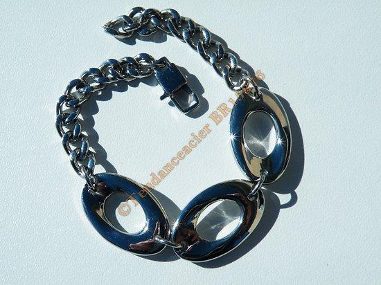 Bracelet Gourmette 20 cm Trio Ovale Arrondie 16 mm Argenté Pur Acier Inoxydable 6 mm