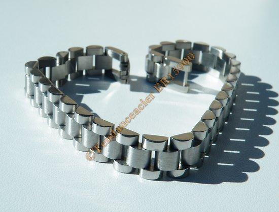 Bracelet 22 cm Gourmette 3 Rangs Argenté Bombée Pur Acier Inoxydable 10 mm
