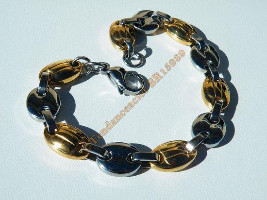 Bracelet 22 cm Grain de Café 5 mm Argenté Haricot Plaqué Or Pur Acier Inoxydable