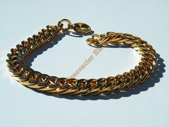 Bracelet 22 cm Pur Acier Inoxydable Doré Plaqué Or Maille Gourmette 8 à 9 mm Rap