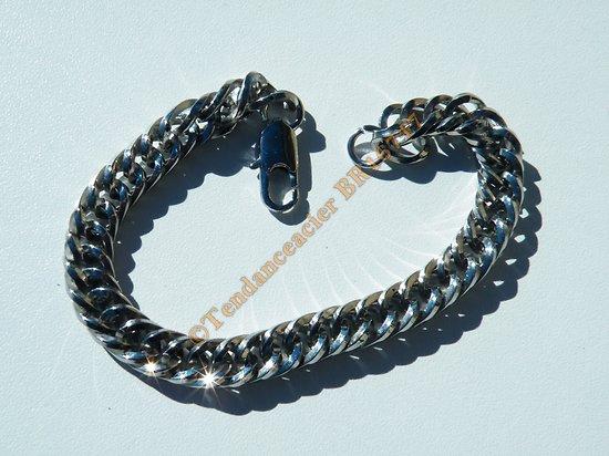Bracelet Mode 22 cm Pur Acier Inoxydable Maille Gourmette Bombée 9 mm Argenté