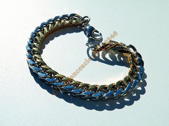 Bracelet 24 cm Large Duo Argenté Plaqué Or Maille Gourmette 10 mm Pur Acier Inoxydable